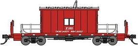 Bluford Steel Transfer Caboose w/Short Roof Ready to Run Great Northern X180 (red, silver, Think Safety Work Safely Slogan) N-Scale