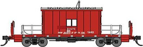 Bluford Steel Transfer Caboose w/Short Roof - Ready to Run Burlington Northern 11471 (ex-GN, red, silver) - N-Scale