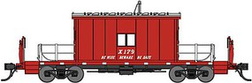 Bluford Steel Transfer Caboose w/Short Roof Ready to Run Great Northern X179 (red, silver, Be Wise Beware Be Safe Slogan)