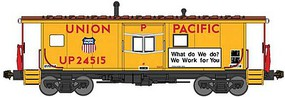 Bluford International Car Bay Window Caboose Phase 4 Ready to Run Union Pacific 24599 (Armour Yellow, red, Boxcar Red, What do We do?..Slogan) N-Scale