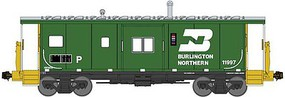 Bluford International Car Bay Window Caboose Phase 4 - Ready to Run Burlington Northern 11999 (Cascade Green, white, yellow) - N-Scale
