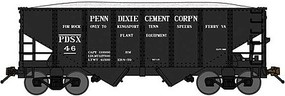 Bluford USRA 30'6'' 2-Bay Hopper with Load 2-Pack Ready to Run Penn-Dixie Cement (black, Limestone Service) N-Scale