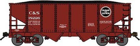 Bluford USRA 30'6'' 2-Bay Hopper with Load 3-Pack Ready to Run Colorado & Southern (Boxcar Red, black) N-Scale
