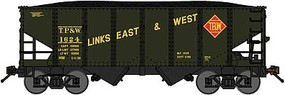 Bluford USRA 30'6'' 2-Bay Hopper with Load Ready to Run Toledo Peoria & Western (dark green, yellow, red, Link Slogan) N-Scale