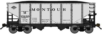 Bluford USRA 306 2-Bay Hopper with Load - Ready to Run Montour (silver, black) - N-Scale