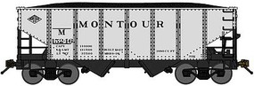 Bluford USRA 30'6'' 2-Bay Hopper with Load Ready to Run Montour (silver, black) N-Scale