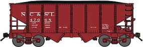 Bluford USRA 306 2-Bay Hopper with Load 2-Pack - Ready to Run Nashville Chattanooga & St. Louis (Boxcar Red, Reporting Marks Only) - N-Scale