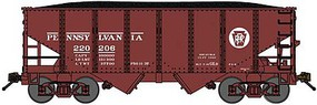 Bluford USRA 30'6'' 2-Bay Hopper with Load 3-Pack Ready to Run Pennsylvania Railroad (Tuscan, Circle Keystone) N-Scale
