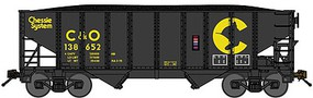 Bluford 8-Panel 2-Bay Open Hopper w/Load 2-Pack Ready to Run Chessie System C&O (black, yellow) N-Scale