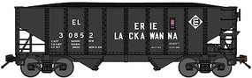 Bluford 8-Panel 2-Bay Open Hopper w/Load 2-Pack Ready to Run Erie Lackawanna (black, Spelled-Out Roadname) N-Scale