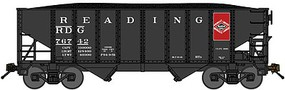 Bluford 8-Panel 2-Bay Open Hopper w/Load 3-Pack Ready to Run Reading (black, red, Anthracite Carrier Logo) N-Scale