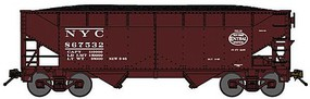 Bluford 2-Bay Offset-Side Hopper w/Load - Ready to Run New York Central (Boxcar Red, System Logo) - N-Scale