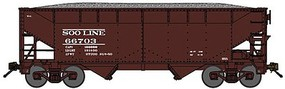 Bluford 2-Bay Offset-Side Hopper w/Load - Ready to Run Soo Line (Boxcar Red) - N-Scale