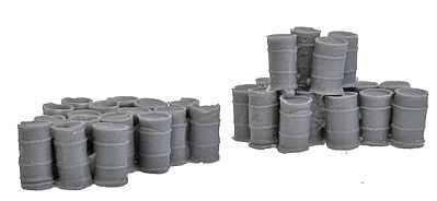 Bar Mills Assorted 55-Gallon Drums 2 Large Groups -- N Scale Model Railroad Building Accessory -- #1002