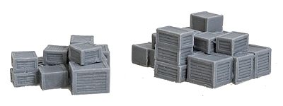 Bar Mills Assorted Crate Stacks Unpainted 2 Large Groups -- N Scale Model Railroad Building Accessory -- #1004