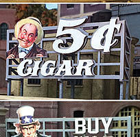 Bar-Mills Billboards Pack 1 (3) Kit HO Scale Model Railroad Billboard Sign #240