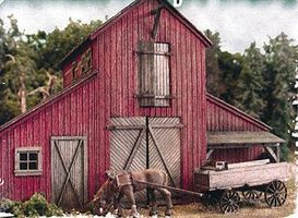 Bar-Mills The Barn at Jackson Corners - w/Horse & Wagon - Kit HO Scale Model Railroad Building #502