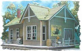 Bar-Mills Whistle Stop Junction (Laser-Cut Wood Kit) N Scale Model Railroad Building #912