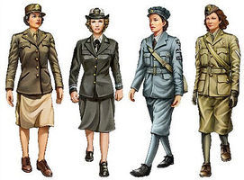 Bronco WWII Allied Female Soldier Set (4 Figures) Plastic Model Military Figure 1/35 Scale #35037