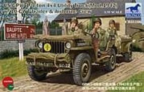 Bronco US GPW 1/4 ton with trailer Plastic Model Military Jeep Kit 1/35 Scale #35106