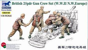 Bronco British 25 pounder Gun Crew Plastic Model Military Figure 1/35 Scale #35108
