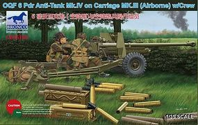 Bronco OQF 6 Pounder Anti-Tank Gun Plastic Model Artillery Kit 1/35 Scale #35168