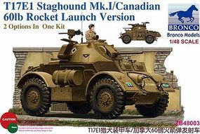 Bronco T17E1 Staghound Mk.I Plastic Model Armored Car Kit 1/48 Scale #48003