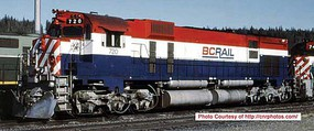 Bowser Montreal Locomotive Works M630 - Standard DC - Executive Line BC Rail 720 (red, white, blue, Recessed Ditch Lights, Ext Filter)