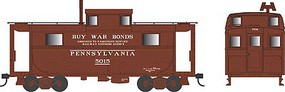 Bowser PRR Class N5 Steel Cabin Car (Caboose) - Ready to Run Pennsylvania Railroad #5018 (Early Scheme, Tuscan, REA & Buy War Bonds) - N-Scale