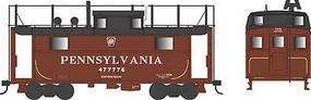 Bowser PRR Class N5 Steel Cabin Car (Caboose) - Ready to Run Pennsylvania Railroad #477801 (Tuscan, Shadow Keystone, Trainphone Antenna) - N-Scale