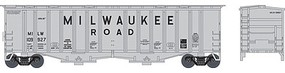 Bowser 2-Bay Airslide Covered Hopper - Ready to Run Milwaukee Road #109933 (gray, Billboard Lettering) - N-Scale