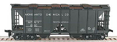 Bowser Manufacturing Co. 70-Ton 2-Bay Open-Side Covered Hopper Kit -- HO Scale Model Train Freight Car -- #55811
