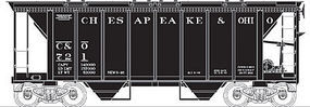 Bowser 70-Ton 2-Bay Covered Hopper, Kit - Chesapeake & Ohio HO Scale Model Train Freight Car #56679