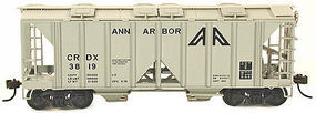 Bowser 70 Ton 2-Bay Covered Hopper Open Side Ann Arbor HO Scale Model Train Freight Car #56961