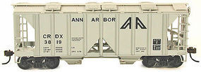Bowser 70-Ton 2-Bay Open-Side Covered Hopper Kit Ann Arbor HO Scale Model Train Freight Car #56963