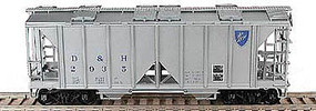 Bowser 70 ton 2 bay Covered Hopper Delaware & Hudson #2829 HO Scale Model Train Freight Car #57017