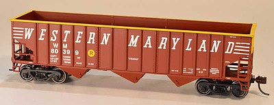 Bowser Manufacturing Co. 14-Panel 3-Bay Hopper - Kit -- Western Maryland 80409 (Boxcar Red, yellow End, Speed Lettering)