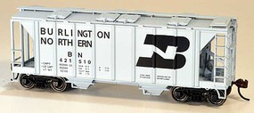 Bowser 70-Ton Covered Hopper, Closed Sides - Kit Burlington Northern 421520 (gray, black, Large Logo)
