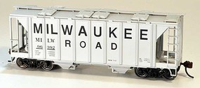 Bowser 70-Ton Covered Hopper, Closed Sides - Kit Milwaukee Road 96563 (gray, Billboard Lettering)