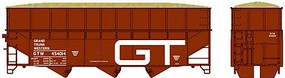 Bowser 70-Ton Offset Wood Chip Hopper w/Ribbed-Side Extensions - Kit Grand Trunk Western #454014 (Boxcar Red, Large GT Logo)