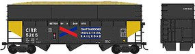 Bowser 70-Ton Offset Wood Chip Hopper w/Smooth-Side Extensions - Kit Chattahoochee Industrial Railroad #5201 (black, yellow, Dam Site Slogan)