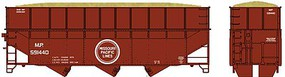70-Ton Offset Wood Chip Hopper w/Ribbed-Side Extensions - Kit Missouri Pacific #591440 (Boxcar Red, Buzz Saw Logo)