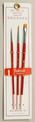 Brushes Atlas Brush #55- 10/0,0,Flat 1 Taklon Detailing Brushes (3)