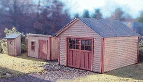 Branchline Garden Shed, 1-Stall Garage, & Outhouse Laser-Art Kit HO Scale Model Railroad Building #635