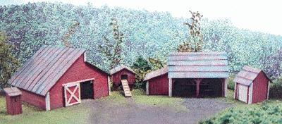 Branchline Farm Outbuilding Set Laser-Art Kit (5) HO Scale Model Railroad Building #651