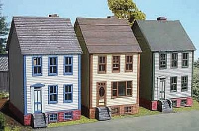 Branchline Trains Row Houses 3-Pack Laser-Art Kit (3) -- N Scale Model Railroad Building -- #838