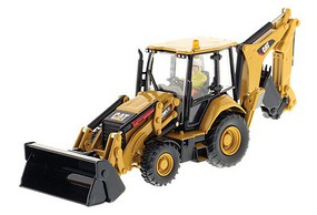 B2B-Replicas Caterpillar 420F2 IT Backhoe Loader - Assembled - DM High Line Series Yellow, Black - 1/50 Scale