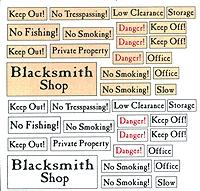 BTS Warning Signs O Scale Model Railroad Billboard Sign #10930