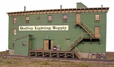 BTS Godfrey Lighting Supply - False Front HO Scale Model Railroad Building Accessory #27000