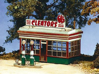 BTS Cabin Creek Series - Cleators Gas Station HO Scale Model Railroad Building #27410